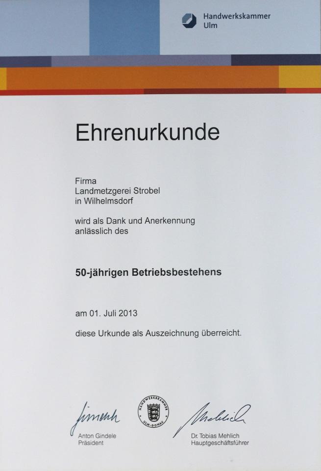 Landmetzgerei_Strobel_Urkunde_50Jahre